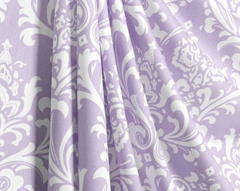 Lavender and white damask curtains