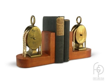 Brass Block and Tackle Pulleys with Ropes  Mounted on Wood Bookends a Pair. Nautical, Industrial, Steampunk Library Accessories