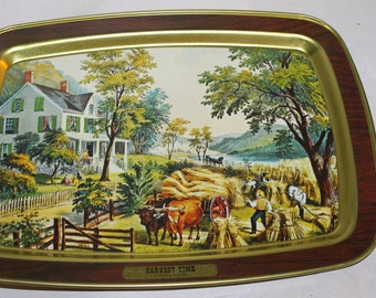 One Vintage Tray for Decoration or Use, with Painting on the Front, Wood Grain ? HARVEST TIME, Rectangle, Currier & Ives, Americana, Nice