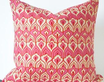 Floral pink pillow cover - Pink and Cream Pillow - Art Nouveau pillow - Boho Pillow - Bright Pink Pillow - Decorative pillow