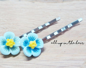 Blue Hibiscus Flower Bobby Pins - Tropical Flower Bobby Pins