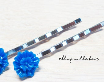 Blue Flower Bobby Pins - Blue Hair Slides - Flower Hair Clips
