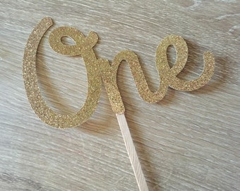 One Cake topper - ONE gold glitter cake topper, cake decoration, first birthday, 1st birthday cake topper