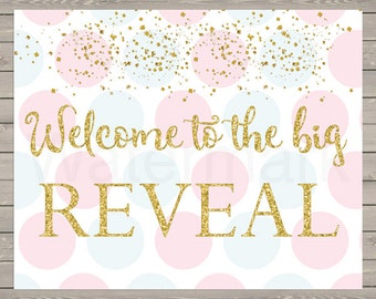Gender Reveal Sign Gender Reveal Welcome Sign Instant Download PDF Printable