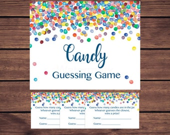 Baby Shower Candy Guessing Game, Rainbow Confetti Candy Guessing Game, Rainbow Colorful Confetti Instant Download PDF Printable