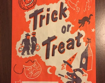 Vintage Trick Or Treat Bag / Mid Century Halloween Collectible