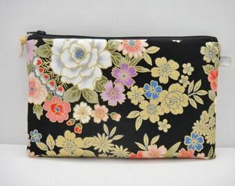 Japanese zipper pouch, Pencil case, Large size, Golden flowers, Black