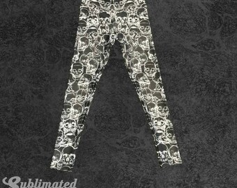 Black Yoga Pants With White Skulls