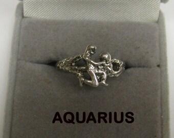 Aquarius ring Zodiac Astrology Sterling Silver sized U.S. no stone