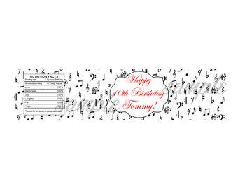 Music notes bottle labels, music notes wrappers, music notes birthday supplies, music notes party favors