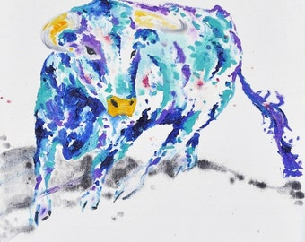 SALE (was 175AUD) - Cow Painting | Cow Art by Aidan Weichard | Original Painting on Canvas | Animal Art |  'Albert' 30 x 30cm | Modern Art