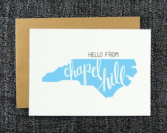 Hello from Chapel Hill  Note Card, Raleigh Greeting Card, Hello Chapel Hill , NC