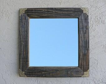 Reclaimed Wood Mirror with Gold Filigree Corners. Rustic Home Decor. Eco Friendly. Framed Mirror. Modern Mirror. Bathroom Mirror. 20x20