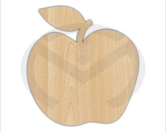 Unfinished Wood Apple Laser Cutout, Wreath Accent, Door Hanger, Ready to Paint & Personalize, Various Sizes, Teacher, Kitchen