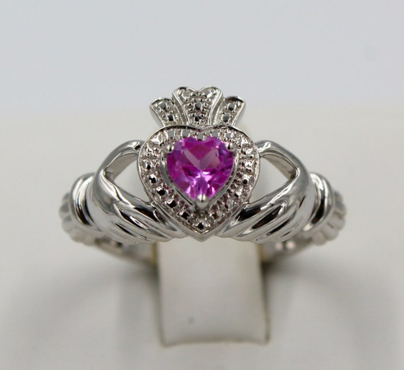 claddagh ring pink topaz 5x5 sterling silver by