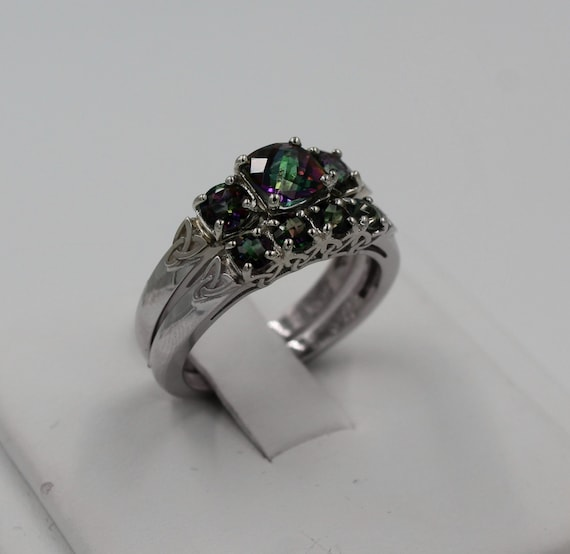 Celtic Engagement Ring And Band Set Cushion By