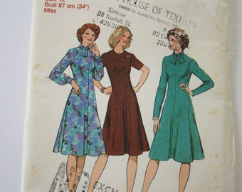 """VINTAGE 1970s Womens Dress Pattern, Sewing Pattern, UNCUT Style 1235, size 12, bust 34"""" /87cm, high-line bodice, long or short sleeves"""