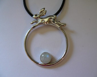 The Hare Jumped Over the Moon.  Silver Hare and Moonstone Pendant