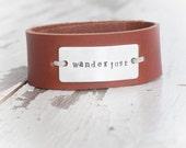 "Leather Cuff, Stamped Metal - ""Wanderlust"" (Custom Orders Optional)"