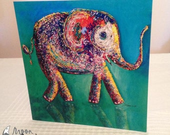 Elephant Artwork Card Elephant Print Elephant Kids card Gift card Elephant greetings card Elephant Art Blank Card