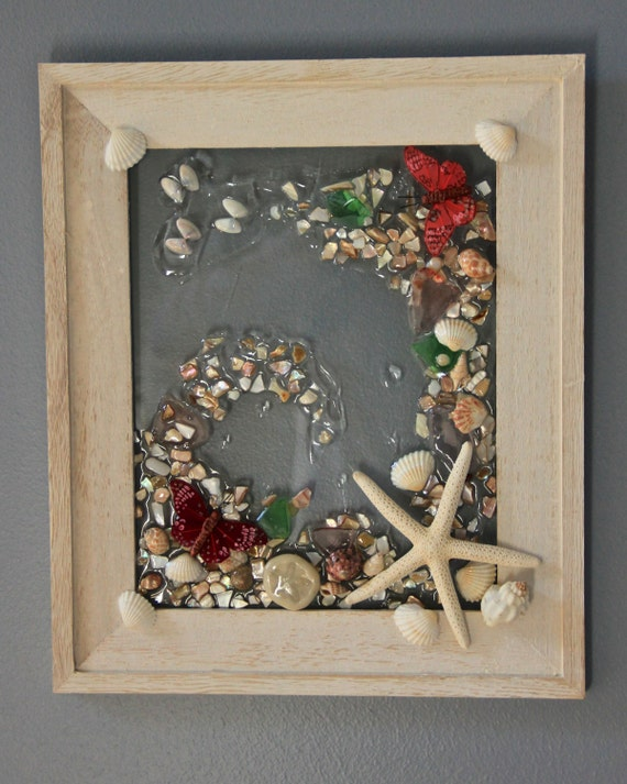 Butterfly and seashell glass mosaic spring by for Seashell mosaic art