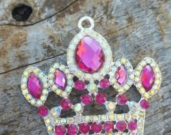 50x46mm Blue Or Pink Rhinestone Crown Pendant