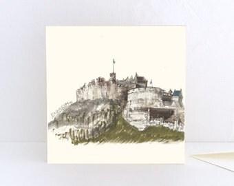 Edinburgh Castle view from Grassmarket Greeting Card