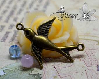 QDW287 30x36mm Pendant Bronze Swallows Swallows bird link elements