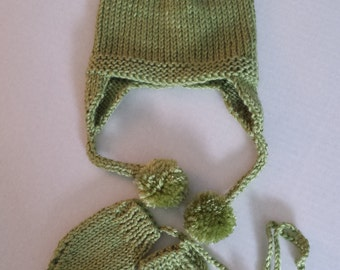 Hand Knitted Earflap Hat and Mittens Set in Spring Green - 0-6 Mos.