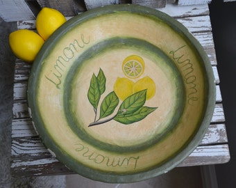 "Handpainted Large Bowl, Vintage Lemon Bowl, Vintage ""Limone"" Bowl, Vintage Hand Painted Bowl, Vintage Fruit Bowl, Rustic Bowl"