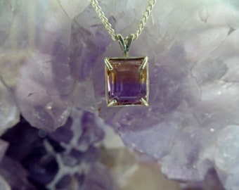 AMETRINE Handmade   PENDANT Faceted - VVS - Sterling Silver setting and chain  Amethyst/Citrine mix