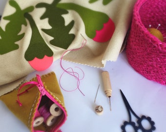 PINK SEWING BASKET & mustard sewing accessories and notions