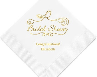 Scroll Design Bridal Shower  Napkins Personalized (Pack of 100)