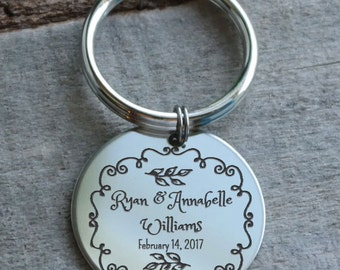 Wedding Filigree Personalized Key Chain - Engraved