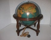 "Vintage Library Globe 10"" With Wood Stand Electric Globe Glows Replogle Globes Inc U.S.A."