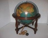 "Vintage Library Globe 10"" With Wood Stand Electric Globe Glows Replogle Globes Inc U.S.A."