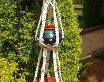 Cotton cord macrame double plant hanger,natural planter,rope plant hanger,6mm,bird feeder,hanging planter