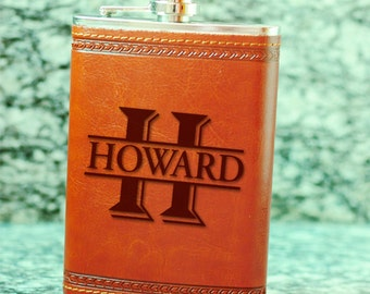 Custom Monogrammed Flask,Groomsmen Gift, Personalized Wedding Flask For Bridemen, Genuine Leather Flasks, Monogram Name Flask Wedding Favor