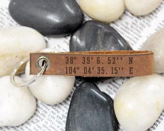 Latitude longitude keychain,Personalized leather keychain,Coordinates Keychain,GPS Coordinates,Hand Stamped Keychain,Christmas Gift Idea