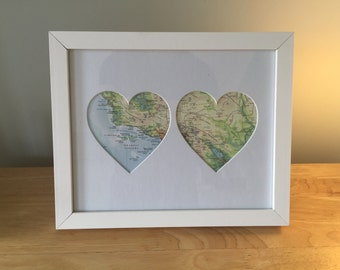 His & Hers Personalised 2 Heart Framed Map - Ideal Anniversary or Wedding gift