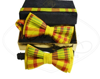 daddy and me bow ties duo, grandpa and me, yellow checkered bow ties, madras bow ties,  ENB002