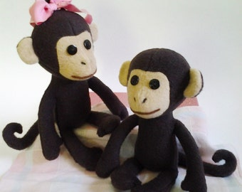 Baby monkey sewing pattern, Stuffed monkey patterns, DIY doll monkey, soft toy sewing pattern, Baby toy animal pattern, Monkey pattern