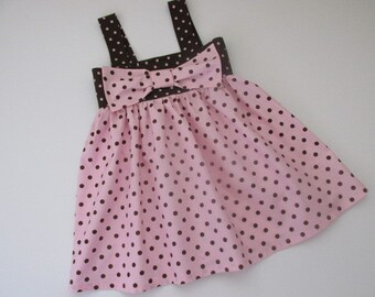 SALE! Girls 5T/6T cotton, brown and pink polka dot sundress with large bow. Toddler dresses/Little girl clothing/Girls summer wear