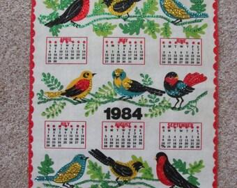 Vintage 1984 Calendar - Felt / Sequin Birds