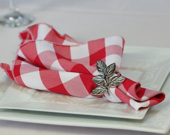 Red and White Checkered Gingham Napkin Polyester