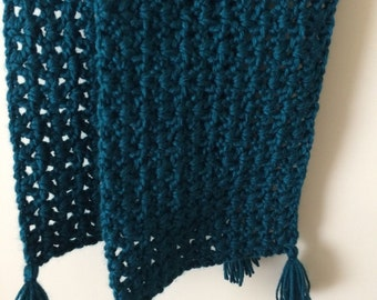 Crochet Scarf, Teal with Tassles, V-Stitch, Homemade Hand Crochet Scarf; Winter Accessory