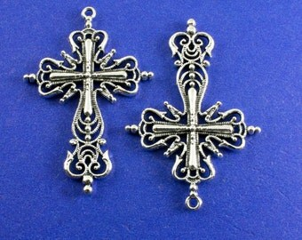 2 pcs -Large Silver Ornate Crucifix Cross, Antiqued Silver Cross, Religious Symbol, Rosary Cross, 42.5x64mm