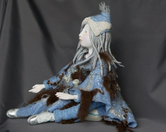 Human of Hyperborean race - 15 inches height - needle felted, artist made, OOAK