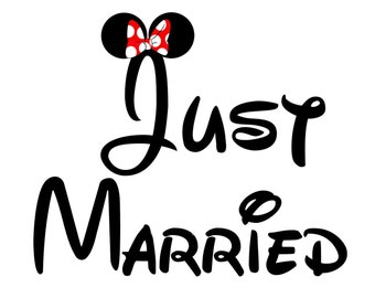 Disney Mickey Minnie Just Married Iron On Shirt Transfer