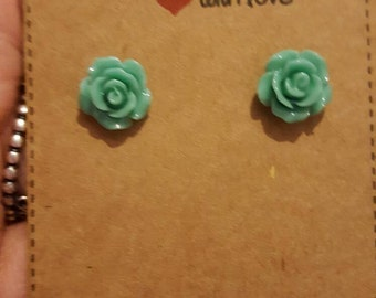 Teal rose flower stud earrings